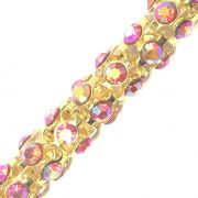 Red AB rhinestone gold plated reticulated chain